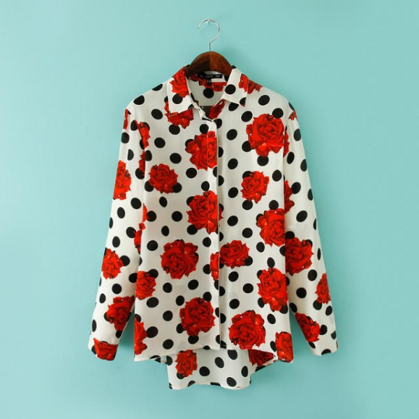 White Black Polkadots Red Roses Retro Pattern Chiffon Long Sleeves Blouse Shirt