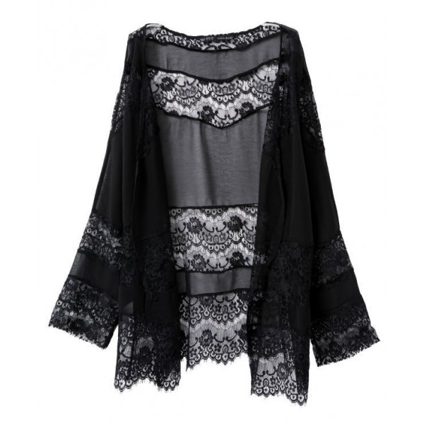 Black Crochet Lace Sheer Sexy Batwing Kimono Cardigan Outer Wear