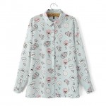 Blue Pink Cute Happy Ballon Face Heart Chiffon Long Sleeves Blouse Shirt