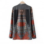 Grey Orange Totem Retro Pattern Chiffon Long Sleeves Blouse Shirt Tunic