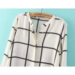 White Black Checkers Cotton Long Sleeves Blouse Shirt