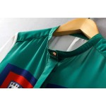 Green White Vintage Totem Retro Pattern Silky Chiffon Long Sleeves Blouse Shirt