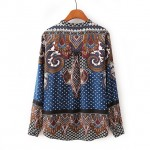 Navy Blue Vintage Paisley Totem Retro Pattern Silky Long Sleeves Blouse Shirt