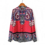 Red Vintage Paisley Totem Retro Pattern Silky Long Sleeves Blouse Shirt