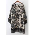 Grey Black Vintage Florals Chiffon Long Tassels Kimono Cardigan Outer Wear