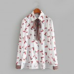 White Flying Birds Ribbon Bow Vintage Chiffon Long Sleeves Blouse Shirt