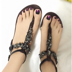Brown Black Suede T Straps Diamonte Rhinestones Fancy Elegant Evening Flats Flip Flop Sandals