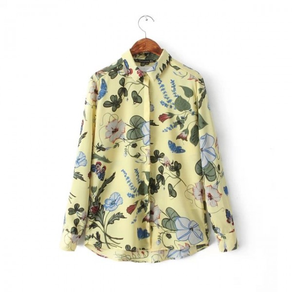 Yellow Black Garden Flowers Floral Retro Chiffon Long Sleeves Blouse Shirt