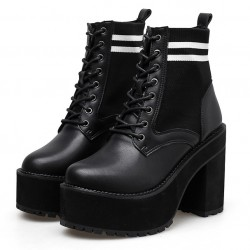 Black Knitted Lace Up Chunky Sole Block High Heels Platforms Boots Shoes