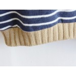Navy Blue Stripes Elbow Patch Long Sleeve Fleece Sweatshirts Tops