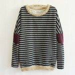 Black Stripes Elbow Patch Long Sleeve Fleece Sweatshirts Tops