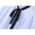 Blue Black Ribbon Bow Vintage Chiffon Long Sleeves Blouse Shirt