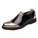 Black Gold Glossy Patent Wingtip Mens Business Loafers Dress Flats Shoes