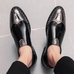 Black Silver Glossy Patent Wingtip Mens Business Loafers Dress Flats Shoes