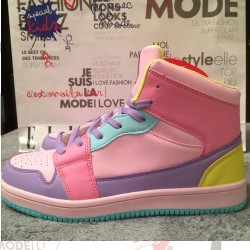 Pink Purple Blue Pastel Color Candies High Top Lace Up Sneakers Boots Shoes