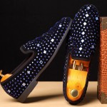 Black Blue Diamante Crystals Studs Loafers Dress Flats Shoes