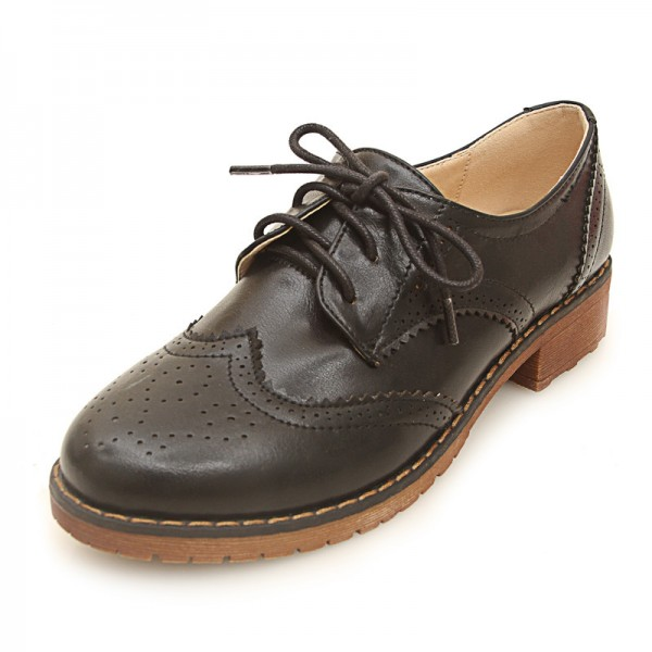 Black Leather Lace Up Vintage Womens Oxfords Flats Shoes
