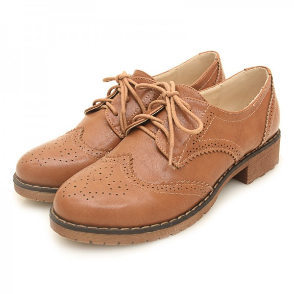 Brown Leather Lace Up Vintage Womens Oxfords Flats Shoes