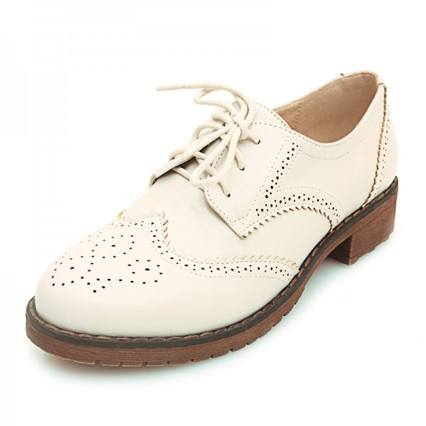 Cream Beige Leather Lace Up Vintage Womens Oxfords Flats Shoes