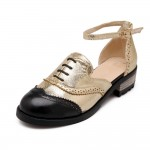 Gold Metallic Ankle Strap Oxfords Women Flats Shoes