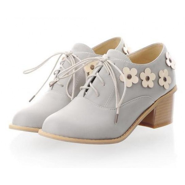Purple Lavender White Flowers Floral Lace Up Heels Women Oxfords Shoes