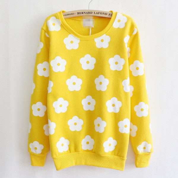 White Flowers Long Sleeve Fleece Sweatshirts Tops