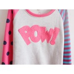 Pink Stripes Polkadots POW Long Sleeve Fleece Sweatshirts Tops