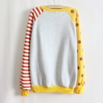 Yellow Stripes Polkadots POW Long Sleeve Fleece Sweatshirts Tops