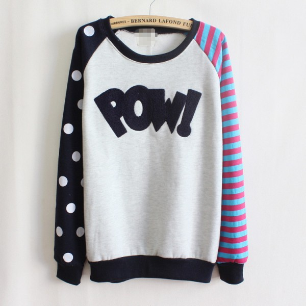 Black Stripes Polkadots POW Long Sleeve Fleece Sweatshirts Tops