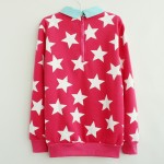 White Stars Twilled Turn Down Collar Long Sleeve Fleece Sweatshirts Tops