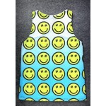 Blue Yellow Smile Happy Faces Cartoon Net Sleeveless Mens T-shirt Vest Sports Tank Top
