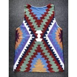 Burgundy Tribal Totem Ethnic Pattern Net Sleeveless Mens T-shirt Vest Sports Tank Top