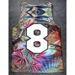 Blue Colorful Palm Leaves 8 Net Sleeveless Mens T-shirt Basketball Vest Sports Tank Top