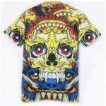 Yellow Red Tribal Totem Retro Skull Head Short Sleeves Mens T-Shirt