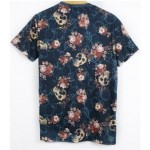 Black Skulls and Roses Punk Rock Short Sleeves Mens T-Shirt