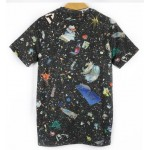 Black Stars Universe Galaxy Skeleton Hands Short Sleeves Mens T-Shirt