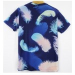 Blue Colorful Feathers Short Sleeves Mens T-Shirt