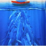 Blue Numerous Sharks Under Boat Short Sleeves Mens T-Shirt