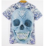 Grey Diamond Skull Short Sleeves Mens T-Shirt