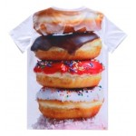 White Colorful Donuts Stack Short Sleeves Mens T-Shirt