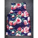 Black Vintage Pink Flowers Roses Net Sleeveless Mens T-shirt Vest Sports Tank Top