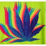 Lime Colorful Rainbow Hemp Leaves Short Sleeves Mens T-Shirt