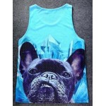Blue Giant Cute Pug Dog Net Sleeveless Mens T-shirt Vest Sports Tank Top