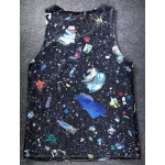 Black Stars Universe Galaxy Skeleton Hands Net Sleeveless Mens T-shirt Vest Sports Tank Top