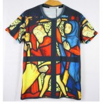 Black Church Catheral Stained Glass Short Sleeves Mens T-Shirt