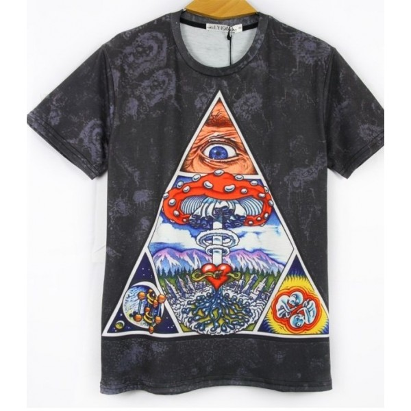 Black Eyes Triangle Totem Short Sleeves Mens T-Shirt