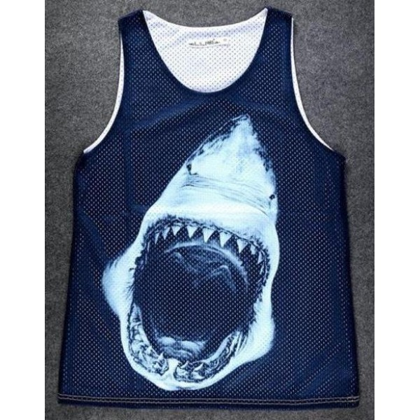 Black Fierce Shark Net Sleeveless Mens T-shirt Vest Sports Tank Top
