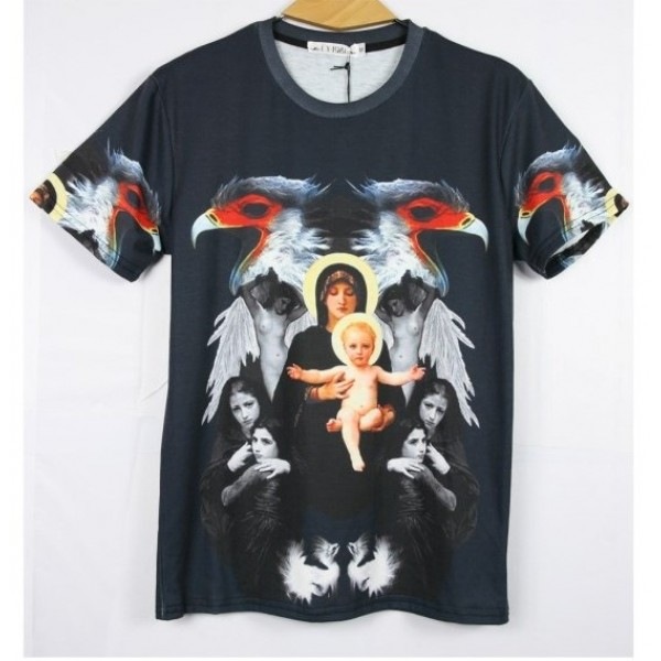Black Mary Jesus Angels Short Sleeves Mens T-Shirt