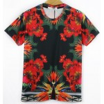 Black Red Vintage Flowers Floral Short Sleeves Mens T-Shirt