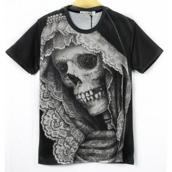 Black Skull Skeleton Bride Horror Short Sleeves Mens T-Shirt